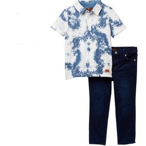 7 For All Mankind Boys 2T Ink Spill Shirt/Jean Set